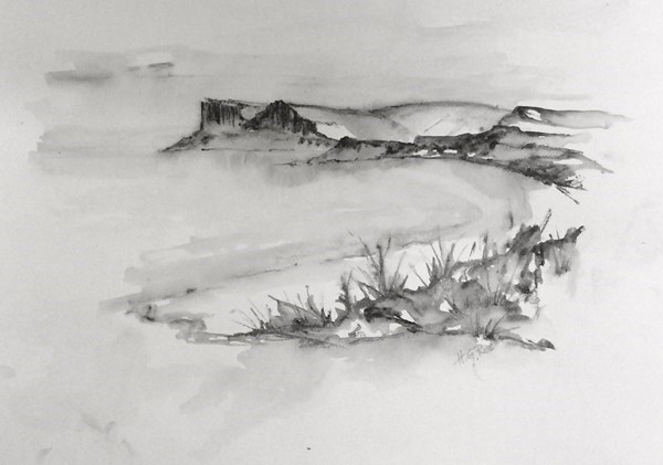 """Fair Head In Spring""  Pencil Drawing.  Available at IN THE MOUNT, Ballycastle."